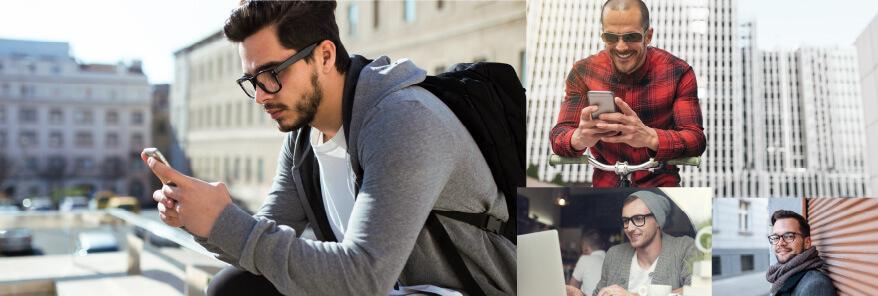 Men using TheONE  Webinar in the city