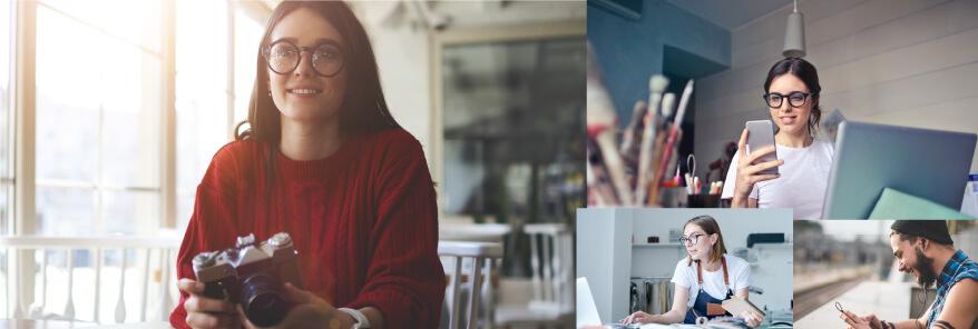 woman using camera in webinar
