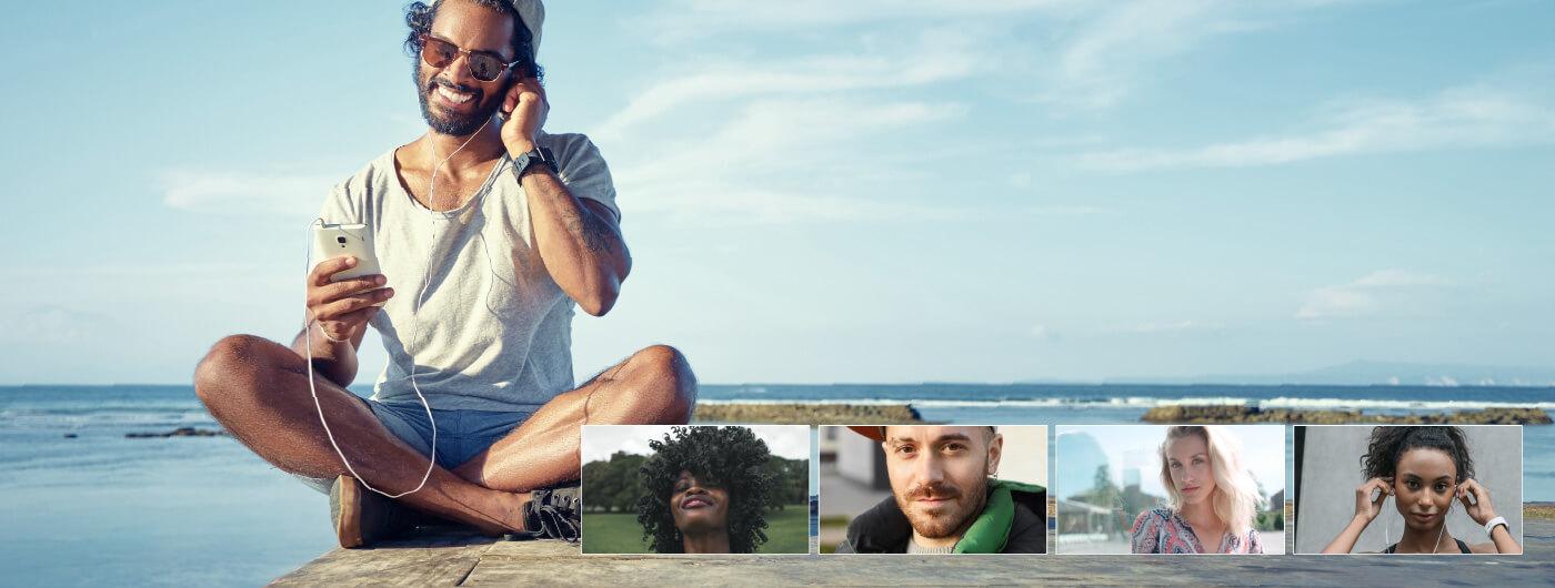Man using TheONE webinar on the beach
