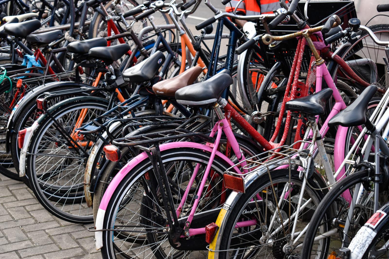 Colored bikes in Amsterdam