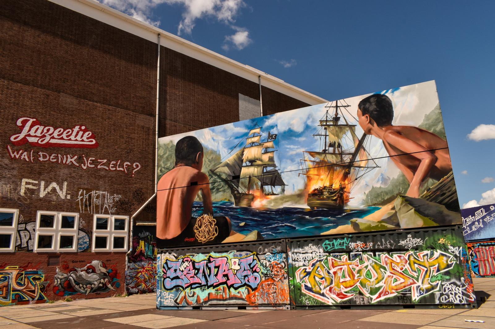 Battleship street art Amsterdam
