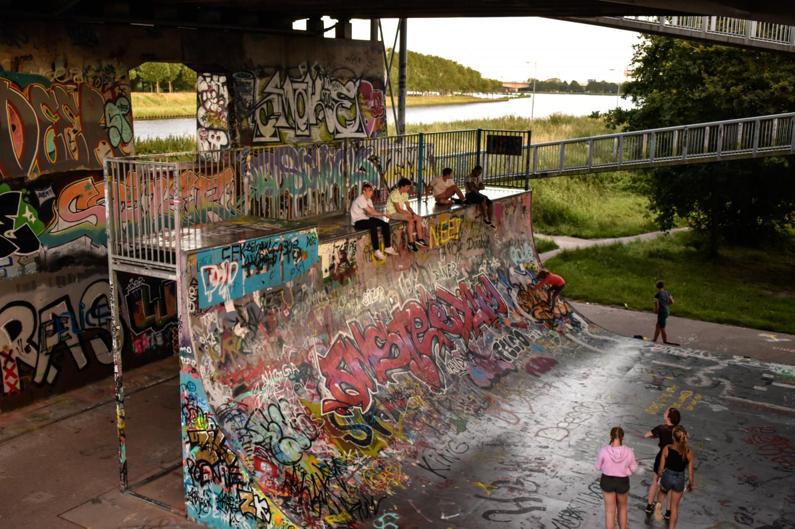 Skat ramp with graffiti in Amsterdam