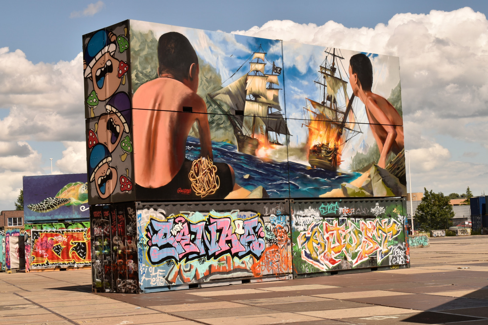 Urban street art on containers in Amsterdam