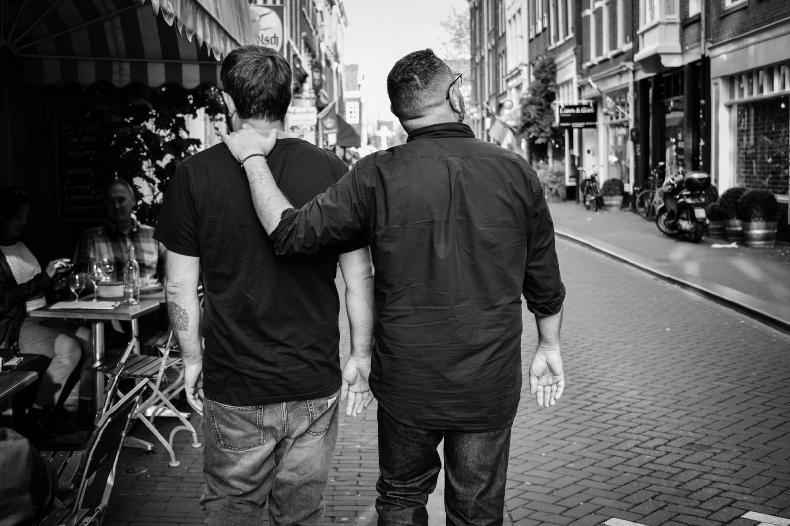 Friends walking in Amsterdam