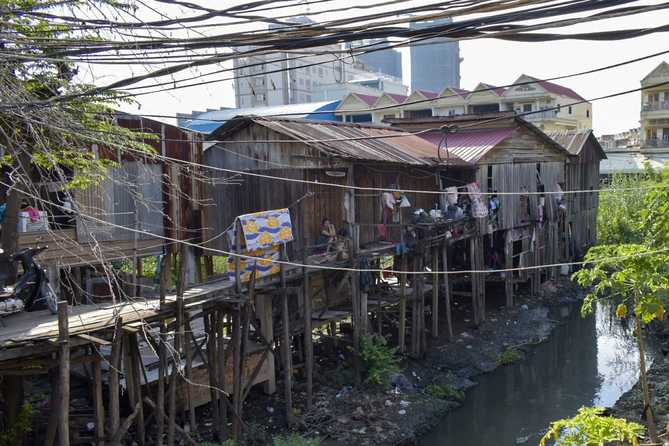 Phnom Penh slums at a river